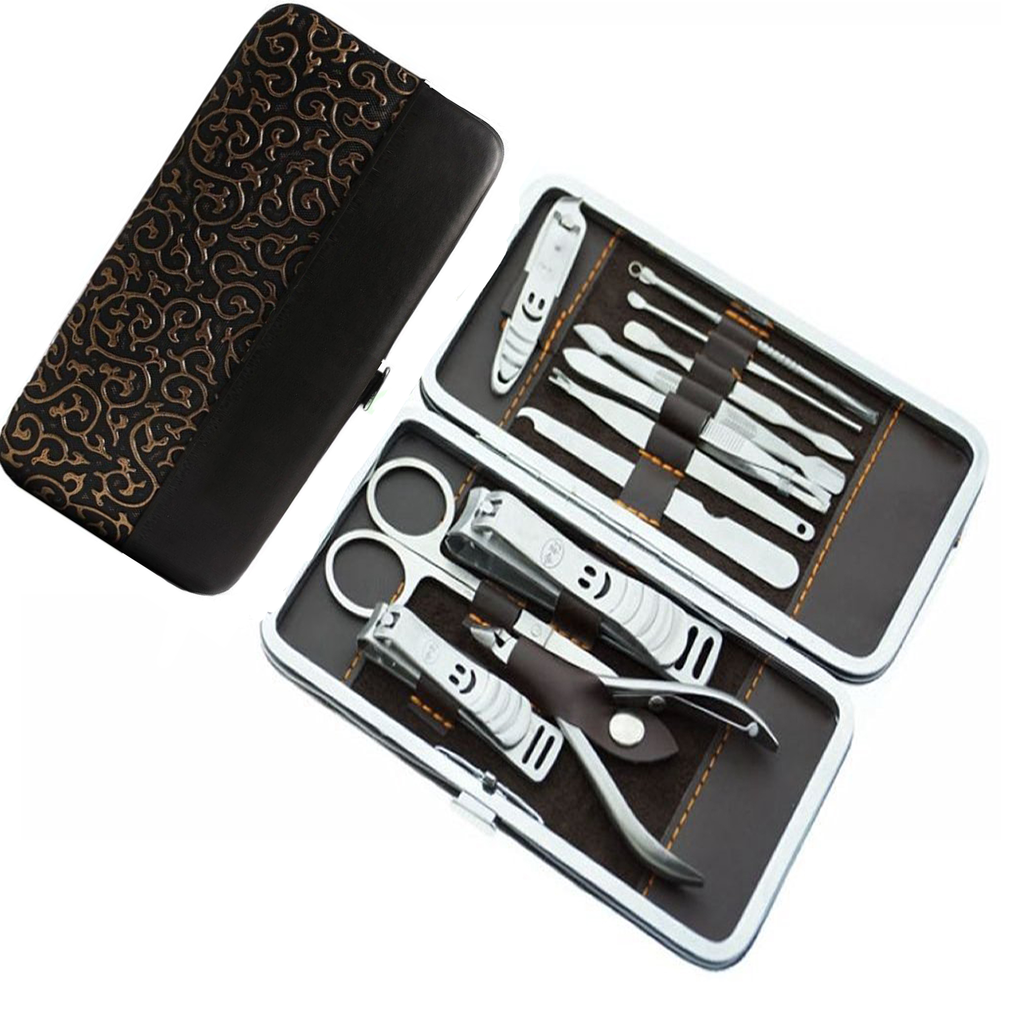 12 in 1 Stainless Steel Professional Nail Cutter Manicure Pedicure & Grooming Kits Nail Clipper Earpick Pedicure Kits for Men/Women