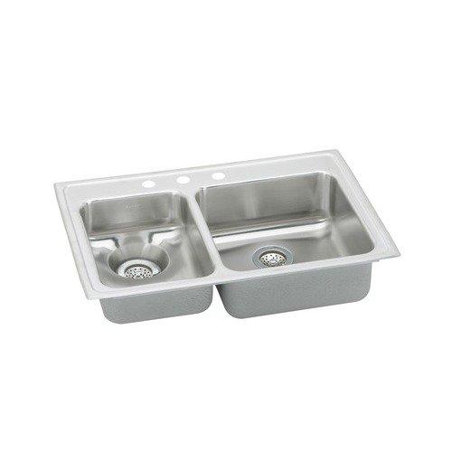 Elkay LWR3322L5 Gourmet Lustertone Stainless Steel Double Bowl Top Mount Sink with 5 Faucet Holes