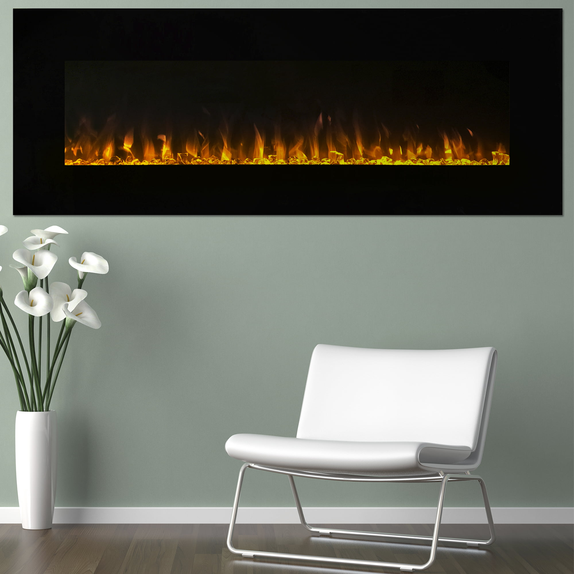 Electric Fireplace Wall Mounted, LED Fire and Ice Flame, With Remote ...