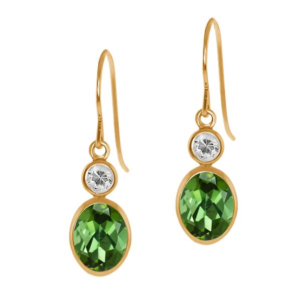 1.98 Ct Oval Green Tourmaline White Topaz 14K Yellow Gold Earrings