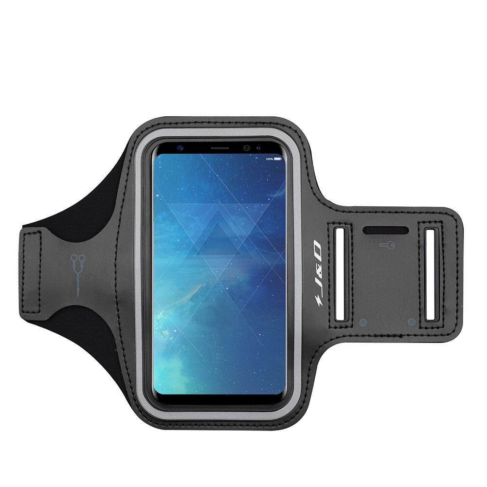 Galaxy S8 Armband, J&D Sports Armband for Samsung Galaxy S8, Key holder Slot, Perfect Earphone Connection while Workout Running – Black