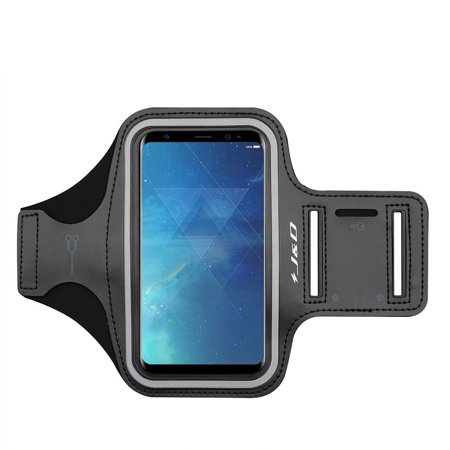 Galaxy S8 Plus Armband, J&D Sports Armband for Samsung Galaxy S8 Plus Plus Plus, Key holder Slot, Perfect Earphone Connection while Workout Running – Black Black Adjustable Sports Armband
