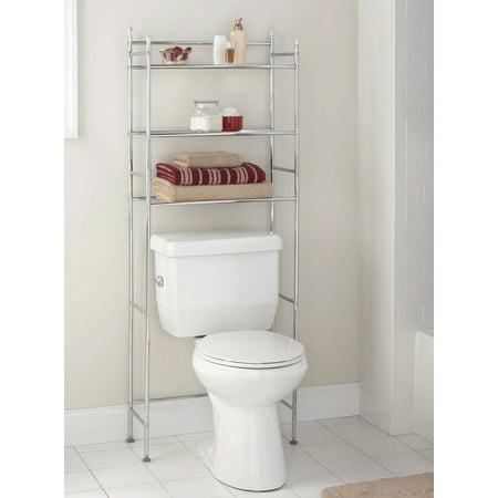 Mainstays 3-Shelf Bathroom Over-the-Toilet Space Saver with Liner, Chrome