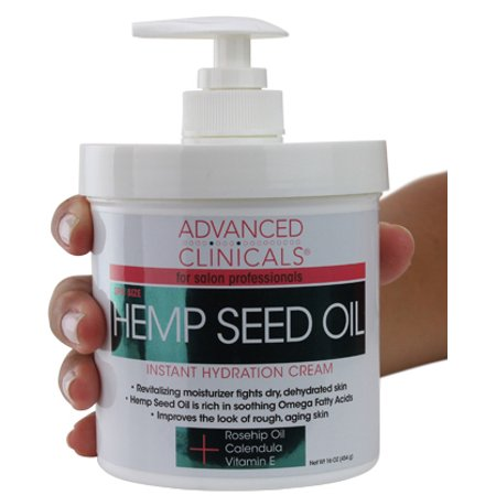 Advanced Clinicals Hemp Seed Lotion. Hemp seed oil cream for dry, rough skin with Rosehip Oil, and Vitamin E.  Large spa size 16oz cream with