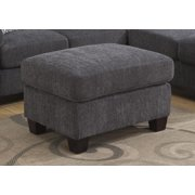 Emerald Home Clayton II Charcoal Gray Ottoman with Fixed Cushion And Block Feet