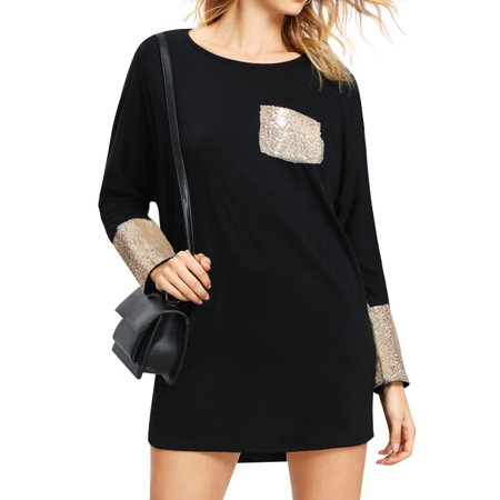 Nlife Women Round Neck Long Sleeve Sequin A-Line Pockets Mini (Love A Line Mini Dress With Pockets)