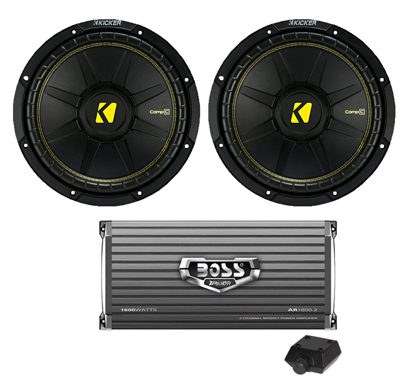 "2) New Kicker 44CWCS104 10"" 1000W Car Audio Power Subwoofers + 1600W Amplifier"
