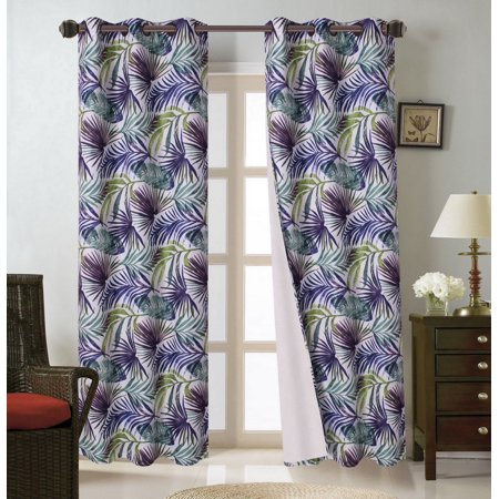 FLORAL#6   1-Piece Tropical Leaves Blackout Lined Grommet Window Curtain Panel 37