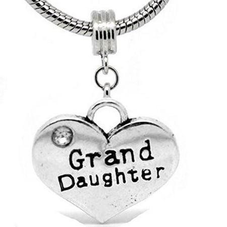 2 Sided Heart Charm (Granddaughter) Spacer Bead for European Snake Chain Charm Bracelet (Charms For Charm Bracelet)