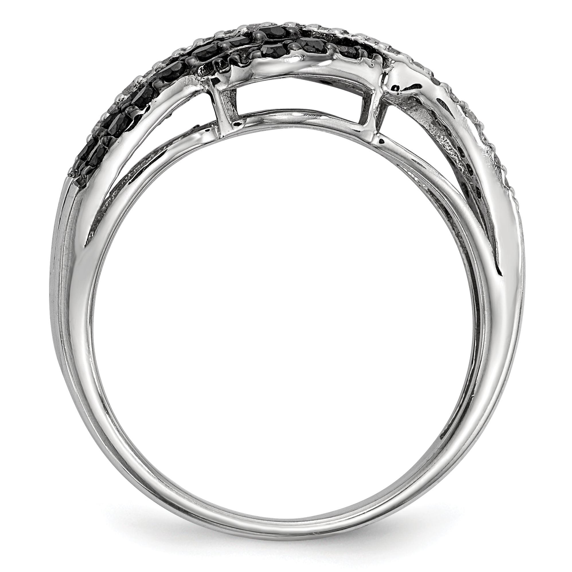 Sterling Silver Black & White Diamond Ring Size 8 - image 3 de 3