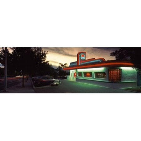 Restaurant lit up at dusk Route 66 Albuquerque Bernalillo County New Mexico USA Canvas Art - Panoramic Images (18 x