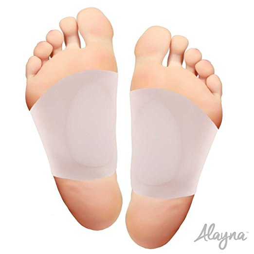 Alayna Arch Support Shoe Insert Foot Pads for Plantar Fasciitis and Flat Feet Soft Gel Sleeves Set Discreet and Effective Arch Pain Relief (1 Pair)