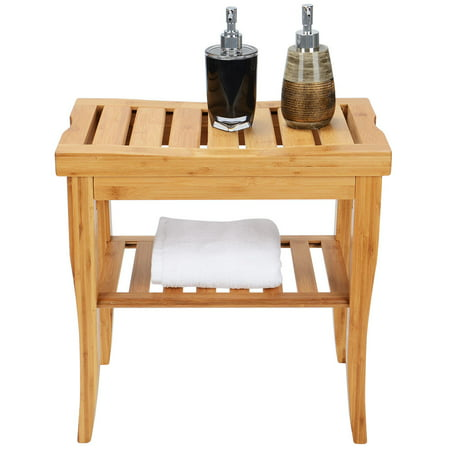 Sortwise Bamboo Bathroom Shower Bench With Storage Shelf Spa Bath Seat Vanity Stool Chair For Indoor Or Outdoor Use