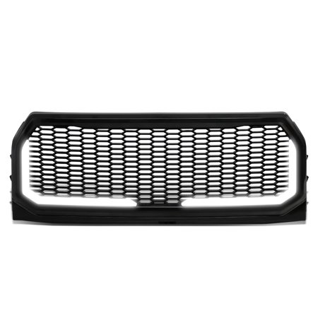 For 2015 to 2017 Ford F150 Badgeless Honeycomb Mesh LED Light Tube Bar Front Bumper Grille 16