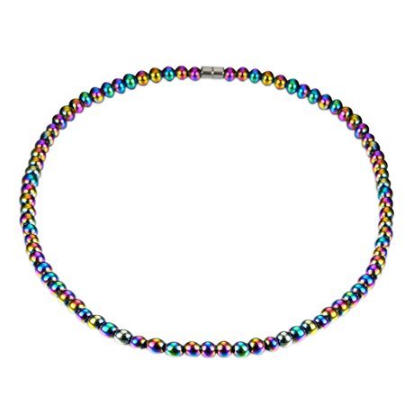Healing Hematite  Magnetic Round Rainbow Beads Necklace Choker