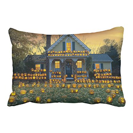WinHome Happy Halloween House Decorated With Lots Of Funny Pumpkin Lights Decorative Pillowcases With Hidden Zipper Decor Cushion Covers Two Side 20x30 inches (Decorated Pumpkins)