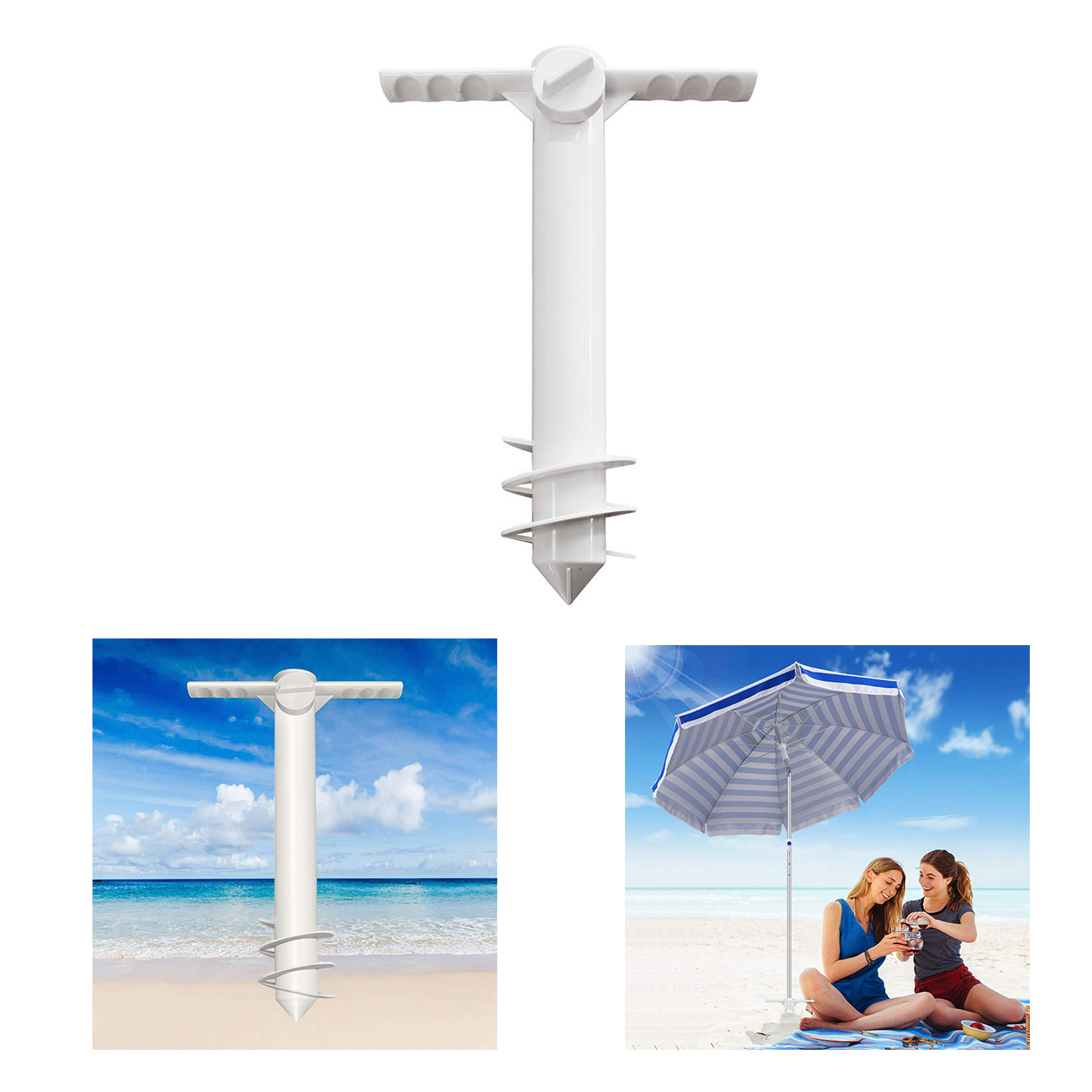 Beach Umbrella Sand Anchor Stand Holder One Size Fits All for Strong Winds