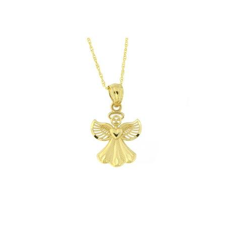 14k Yellow Gold Diamond Cut Angel Pendant Necklace Asscher Cut Diamond Pendants