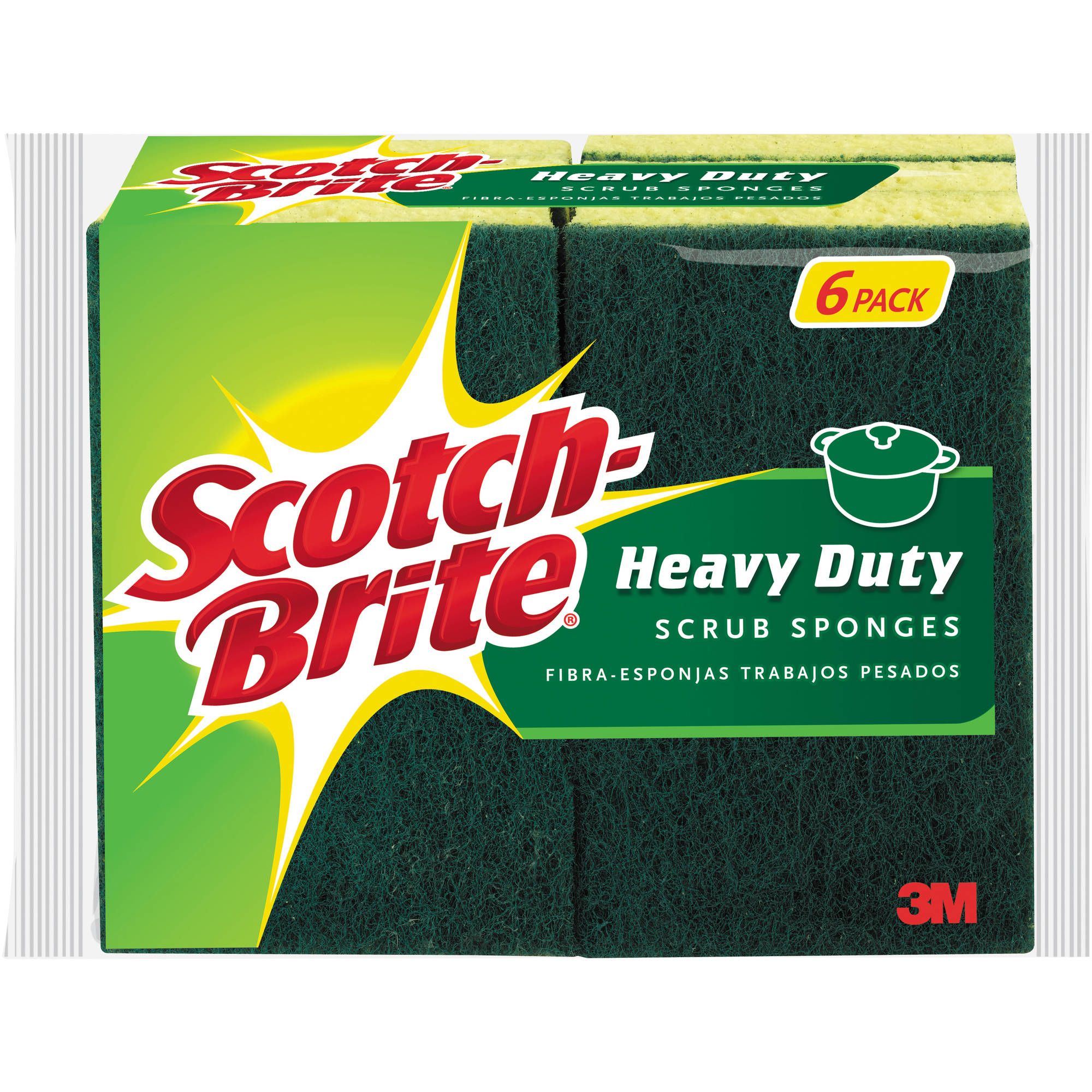 Scotch-Brite Heavy Duty Scrub Sponge 4.5 in x 2.7 in x .6 in, 6/Pack