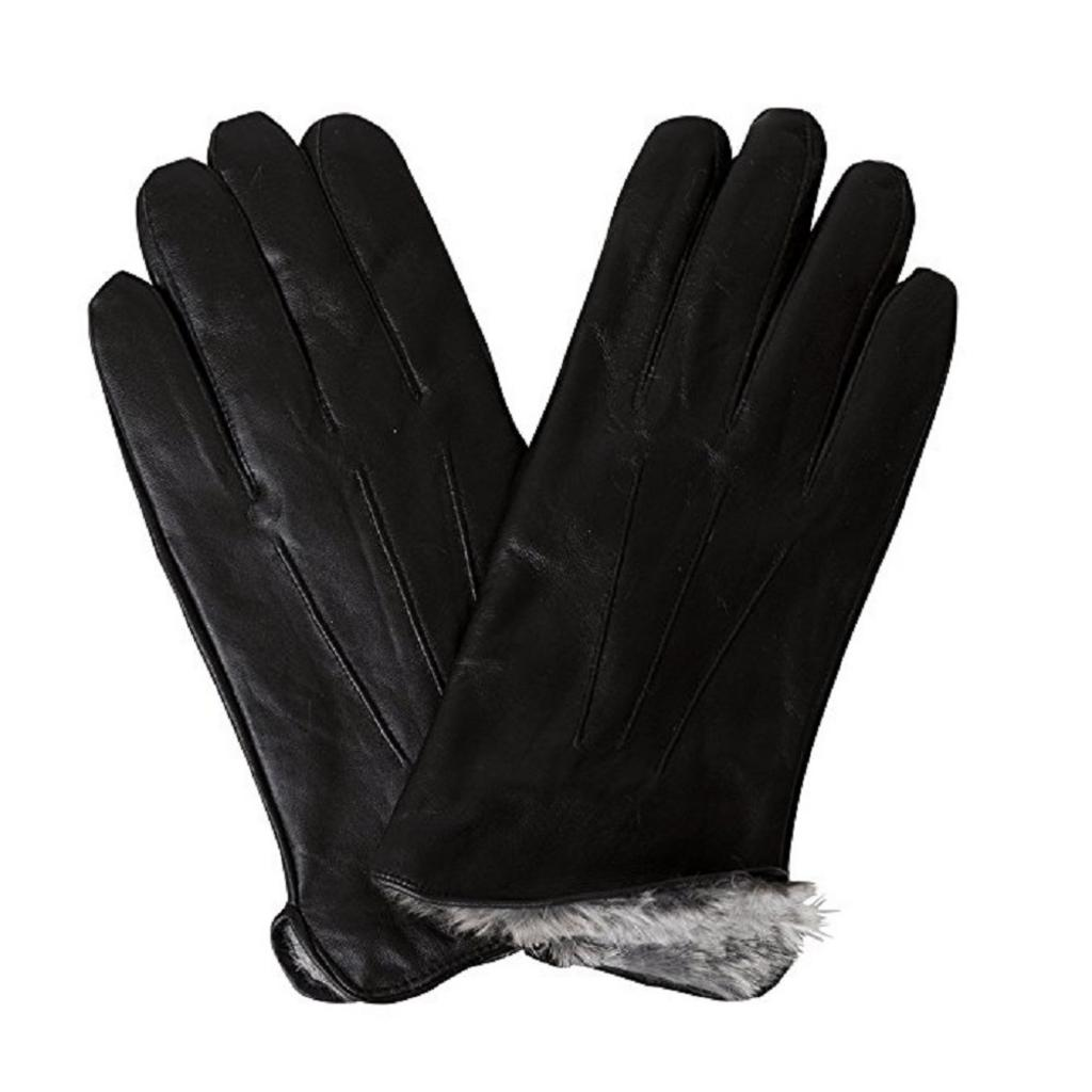 Leather Mens Rabbit Fur Lined Genuine Soft Leather Gloves Black