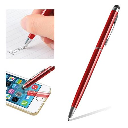 Insten Red 2-in-1 Capacitive Stylus with Ball Point Pen For Tablet Smartphone Universal iPhone 7 6 Plus 5.5