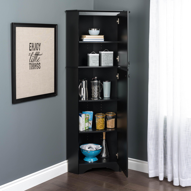 Corner Storage Cabinet Black Finish Sturdy Rack Functional ...