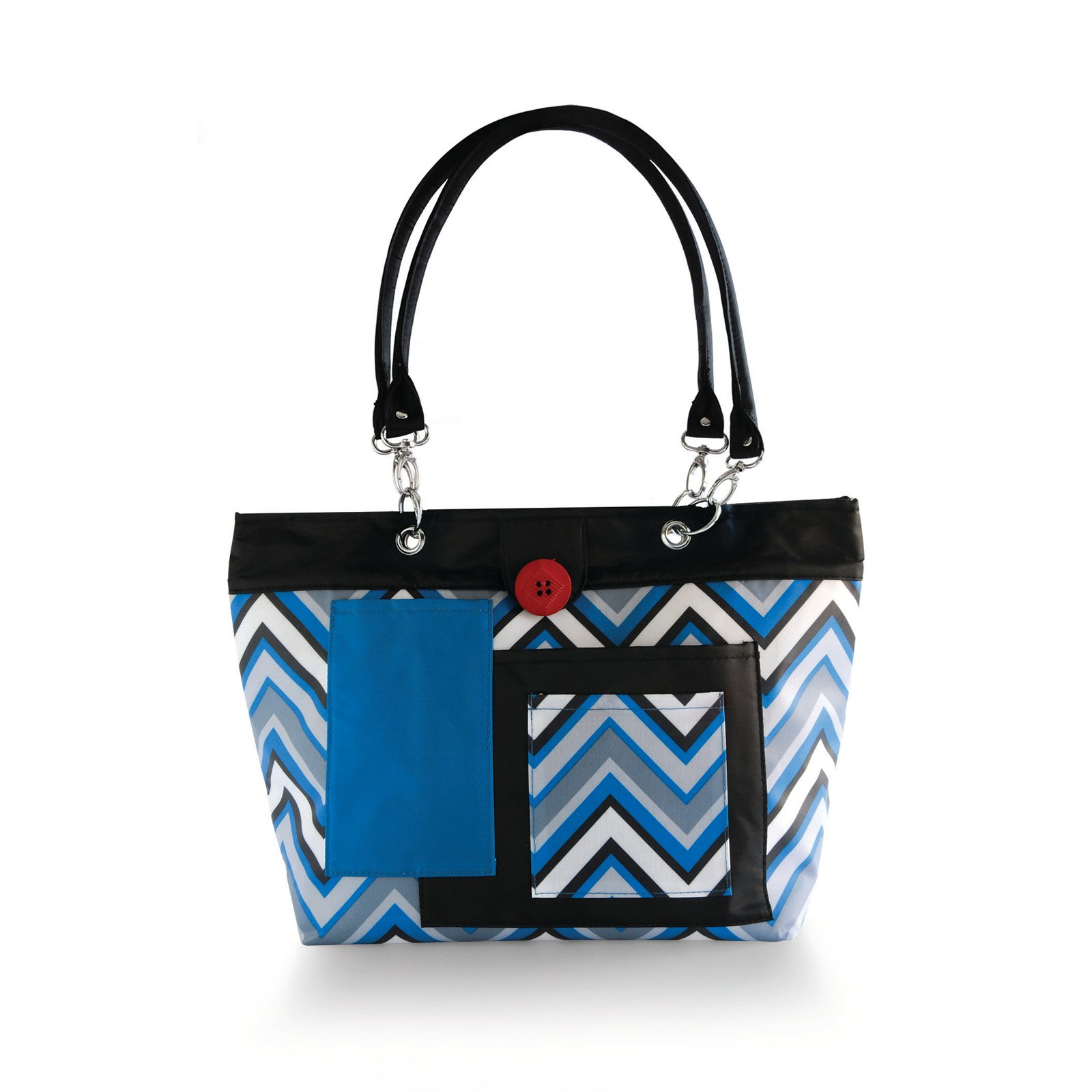 Image of 2 Red Hens Rooster Diaper Bag - Chevron Stripes Blue