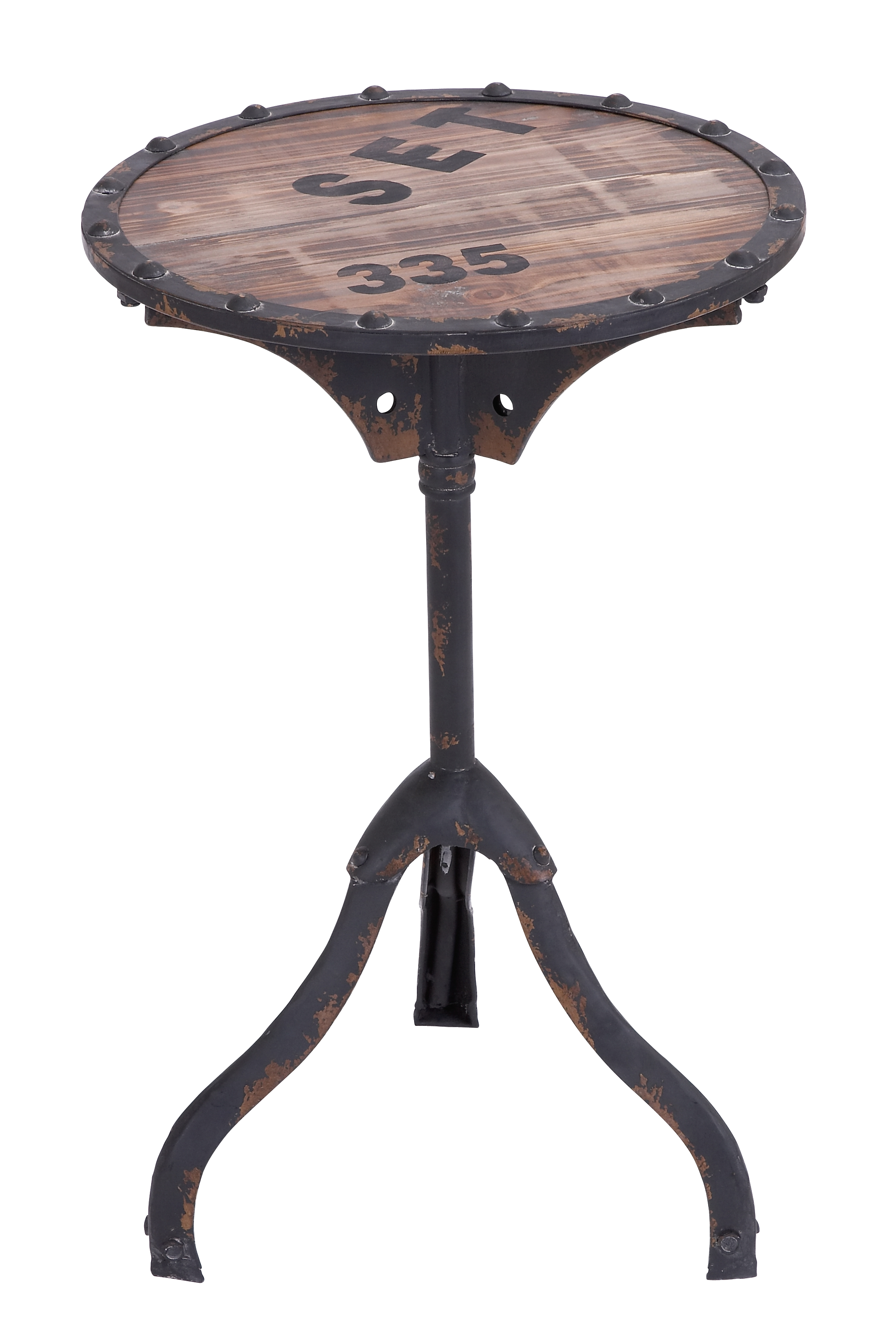 Decmode 24 Inch Rustic Round Iron and Wood Accent Table With Vintage Graphics, Brown by DecMode