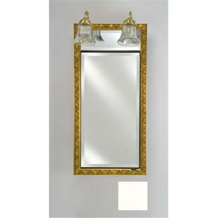 Afina Corporation SD-LT1730RCOLWT 17 in.x 30 in.Recessed Single Door Cabinet with Traditional Lights - Colorgrain White