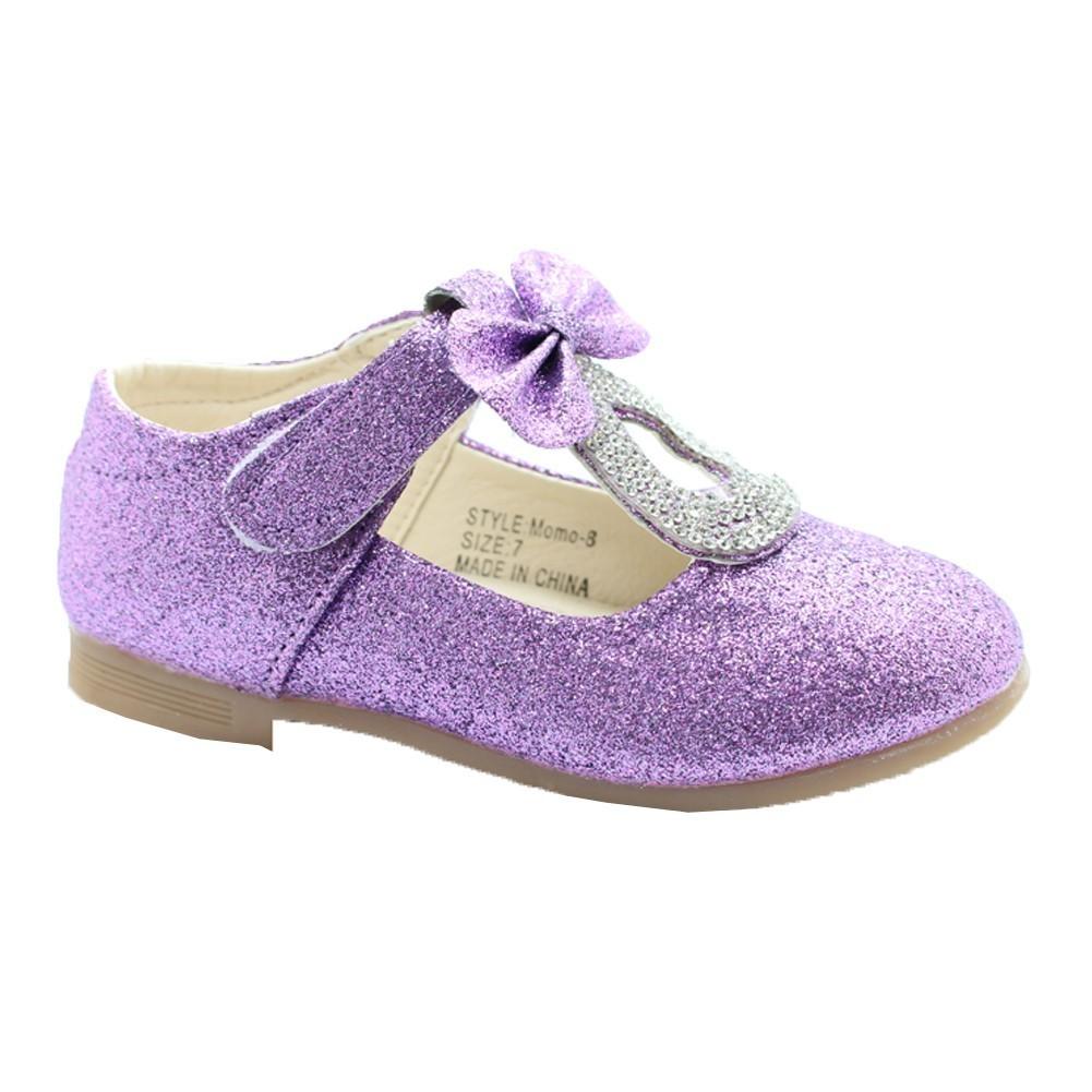 purple glitter rhinestone bow adorned dress