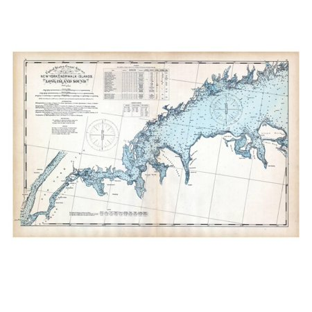 1893, United States Coast Survey - New York to Norwalk Islands - Long Island Sound, Connecticut, US Print Wall