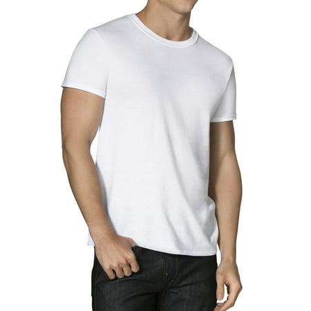 Men's Dual Defense Active Cotton Blend White Crew T-Shirts, 8 (Petite/8 Pack)