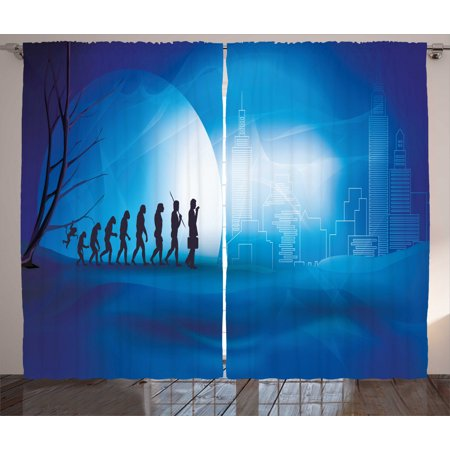 Evolution Curtains 2 Panels Set, Transition from Nature to the City and Technology, Window Drapes for Living Room Bedroom, 108