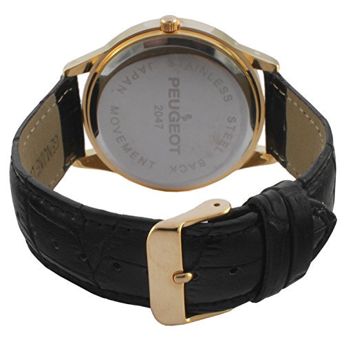 d36822f7d34 Peugeot - Men s 14K Gold Plated Decorative Sun Moon Phase Roman Numeral  Brown Leather Band Vintage Large Face Dress Watch 2047GBR - Walmart.com