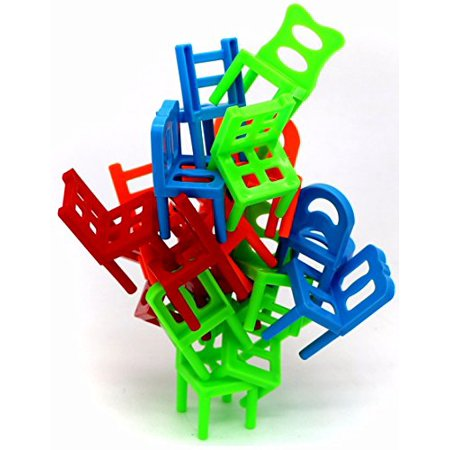 Little Treasures Chairs Stacking Tower Balancing Game - Pile-Up Suspend Family Board Games For Kids (18 Chair Toys Set) - Suspend Game