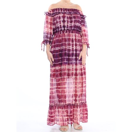 JESSICA SIMPSON Womens Purple Ruffled Tie Dye 3/4 Sleeve Off Shoulder Maxi Empire Waist Evening Dress Juniors  Size: L Empire Waist Bow
