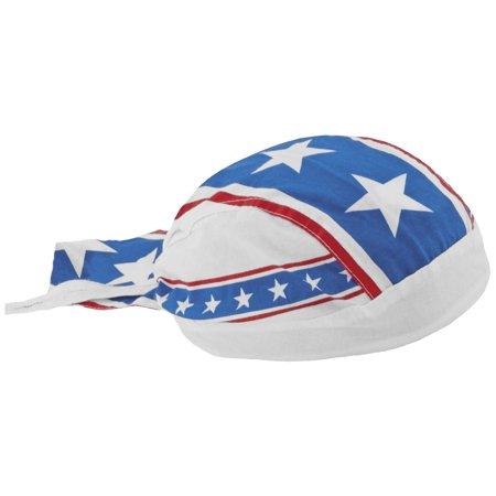 American Flag Doo Rag Patriotic Bandana Cap Stars and Stripes Red White Blue Cotton Head Wrap (White Cotton Bandanas)