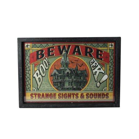 "Raz Imports 16"" Halloween Stamped ""Beware"" Metal Wall Art - Orange/Green ()"