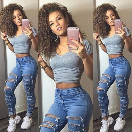 Women Denim Skinny Ripped Pants High Waist Stretch Jeans Slim Pencil (Slim Illusion Luxe High Waist Skinny Jeans Black)
