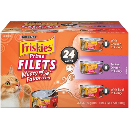 Purina Friskies Prime Filets Meaty Favorites Adult Wet Cat Food Variety Pack    24  5 5 Oz  Cans