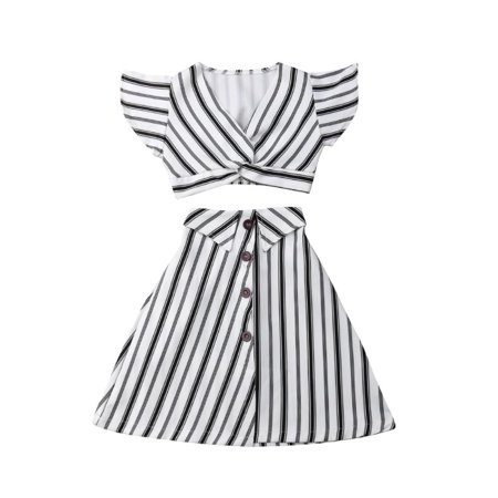 Party Girl Outfits (Fashion Striped Children Kids Girls Party Dress Crop Short Tops+ A-lined Skirt Outfit)