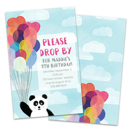 Personalized Panda With Balloons Birthday Party Invitations - Personalized Balloons With Photo