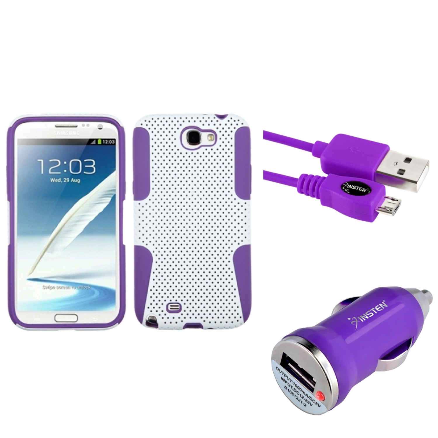 Insten Purple/White Hybrid Case 3FT USB Cord Car Charger For Samsung Galaxy Note 2