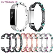 For Fitbit Alta HR Band Women Men,  Stainless Steel & Rhinestone Diamond Replace Watchband Jewelry Strap Feminine Cuff Bracelet(Rose Gold,Black,Silver)
