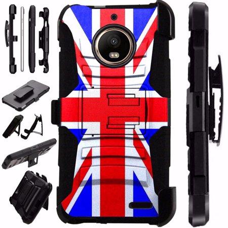 - Compatible Motorola Moto E5 Case Armor Hybrid Phone Cover LuxGuard Holster (British Flag New)