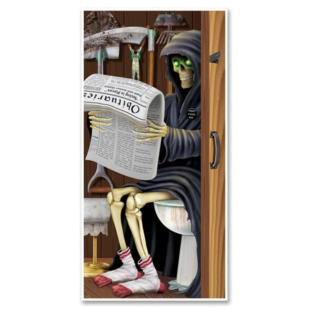 Club Pack of 12 Halloween Themed Grim Reaper Restroom Door Cover Party Decorations 5'