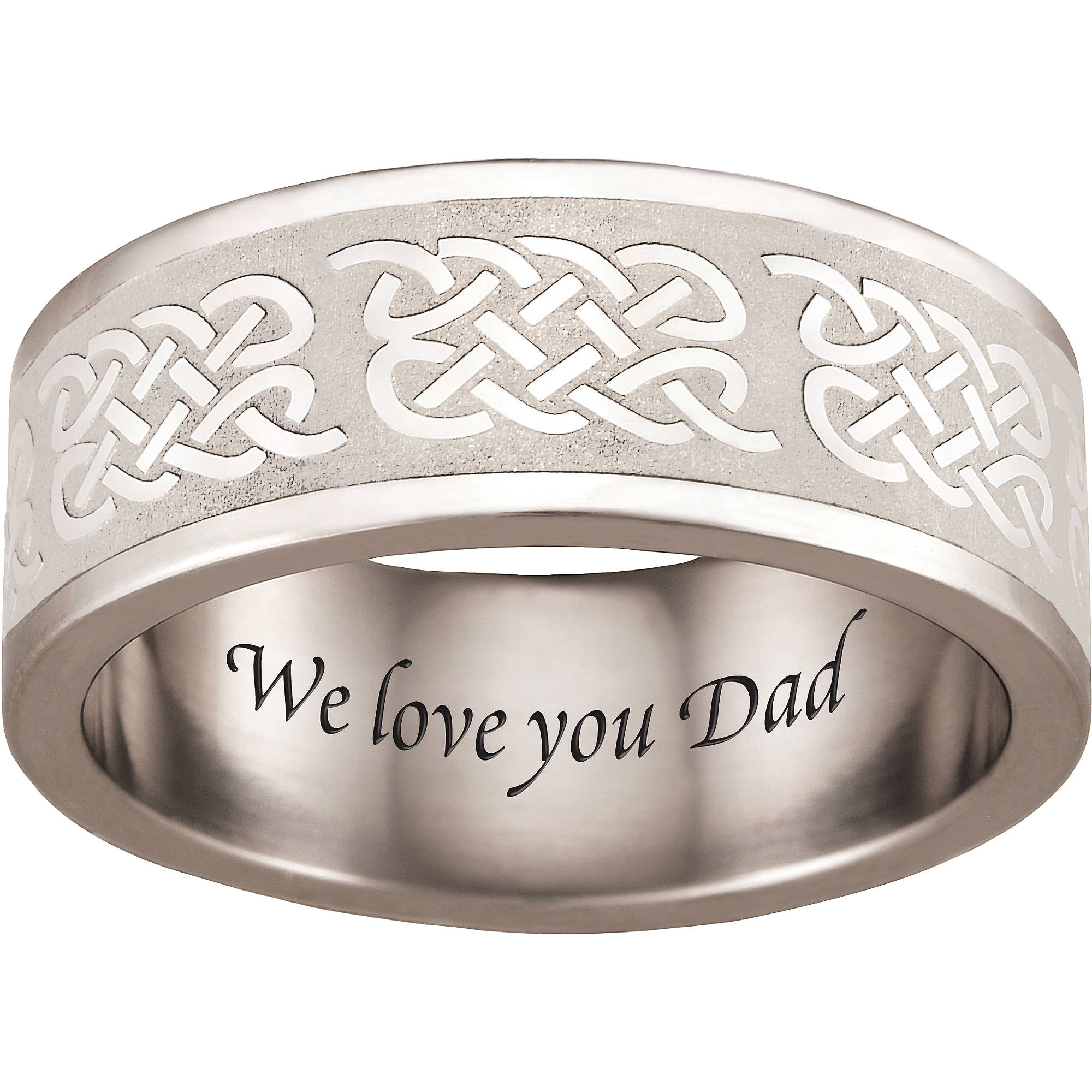 Personalized Keepsake Stainless-Steel Men's Celtic Ring