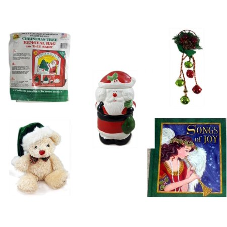 Christmas Fun Gift Bundle [5 Piece] -  Tree Removal Bag And Tree Skirt - Festive Holly Berry & Pinecone Door Knob Jingler - 3 Piece Santa Potpourri Tealight Warmer  - Dan Dee  Teddy Bear  7