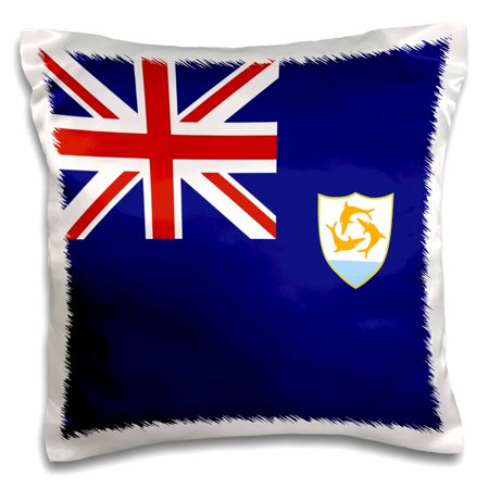 - 3dRose Flag of Anguilla - Caribbean island dolphin shield coat of arms on navy blue with British Union Jack - Pillow Case, 16 by 16-inch