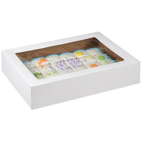 Wilton White Rectangle Corrugated Cake Box with Window, 19 x 14 x 4 Inch, - Cardboard Cake Boxes